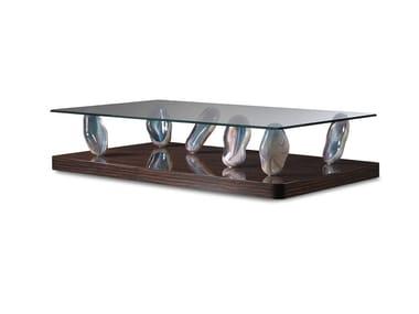 Tavolino rettangolare in vetro SASSI | Tavolino