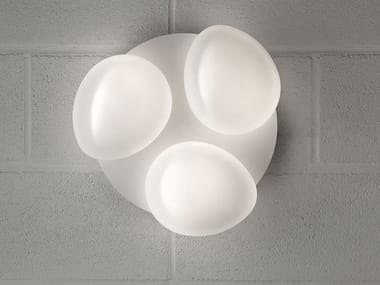 Lampada da parete a luce diretta in vetro laminato SASSO | Lampada da parete