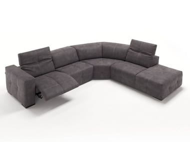 Corner relaxing leather sofa with electric motion SAUVANNE | Corner sofa