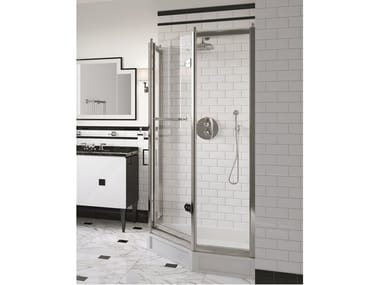Corner pentagonal glass shower cabin with hinged door SAVOY J