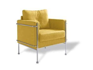 Fabric armchair with armrests SBAIZ | Armchair