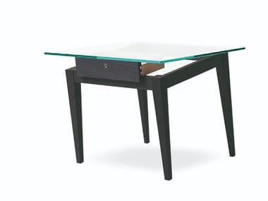 Tavolino alto rettangolare in legno impiallacciato SBILENCO | Tavolino