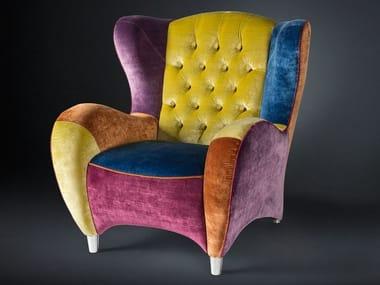 Tufted fabric armchair with armrests SCHINKE | Fabric armchair