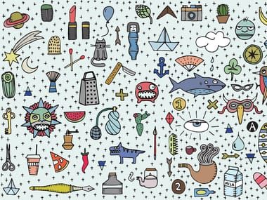 Motif pop art wallpaper SCRIBBLES PATTERN