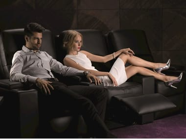 Sectional leather Cinema armchair with motorised functions VENICE | Sectional Cinema armchair