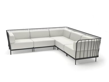 5 seater sectional fabric garden sofa CANNOLÈ | Sectional garden sofa