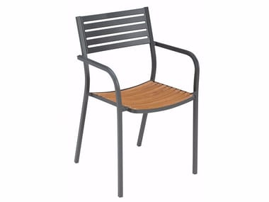 Armchair with teak seat SEGNO