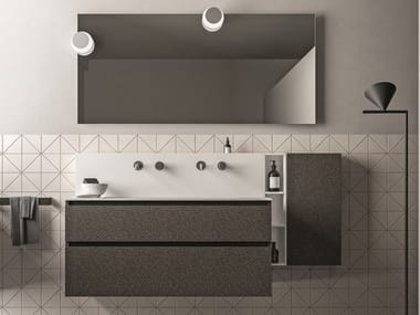 Wall-mounted melamine-faced chipboard vanity unit with drawers SEGNO | Melamine-faced chipboard vanity unit