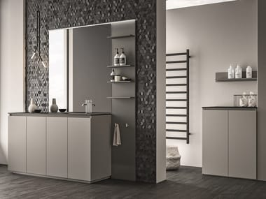 Melamine-faced chipboard vanity unit with drawers SEGNO | Laundry room cabinet