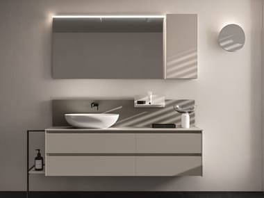 Wall-mounted melamine-faced chipboard vanity unit with drawers SEGNO | Vanity unit with drawers