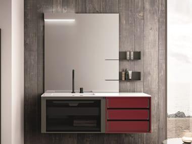 Mobile lavabo laccato sospeso con cassetti SEGNO | Mobile lavabo laccato