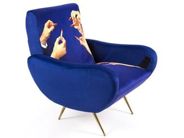 Fabric armchair with armrests LIPSTICKS | Armchair
