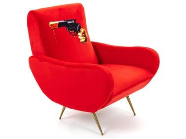Fabric armchair with armrests REVOLVER | Armchair