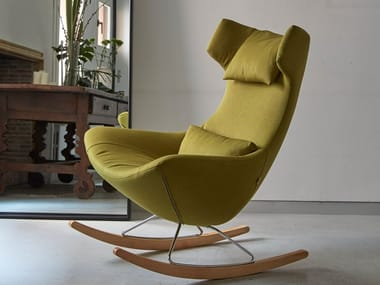 Rocking high-back fabric armchair with removable cover SELFIE ROCK