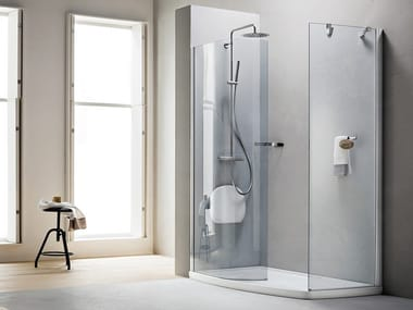 Corner Walk in shower with tray SEPATET AQUA | Walk in shower