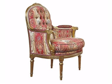 Tufted fabric armchair with armrests SERENISSIMA