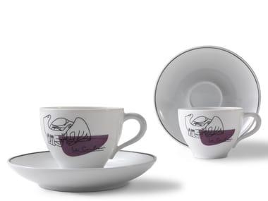 Set di tazze da caffè in porcellana con piattino GNR SERVICE PRUNIER | Set di tazze con piattino