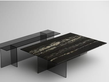 Coffee table with marble top and glass base SESTANTE STONE | Coffee table