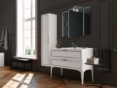 Mobile lavabo da terra in legno con specchio SETA 15