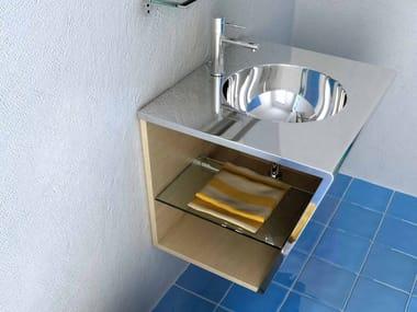 Single wall-mounted vanity unit SETTEMENO | Stainless steel vanity unit