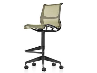 Swivel mesh office stool with 5-Spoke base with castors SETU | Office stool
