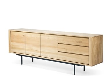 Oak sideboard with doors with drawers OAK SHADOW BLACK FRAME | Sideboard