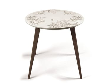 Round porcelain coffee table SHADOW MOMENT WENGE