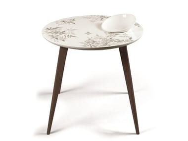 Round porcelain coffee table SHADOW MOMENT WENGE WITH BOWL