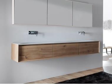 Double wall-mounted vanity unit with drawers SHAPE EVO | Double vanity unit