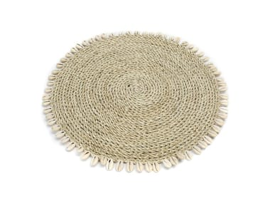 Round natural fibre placemat SHELL | Seagrass placemat
