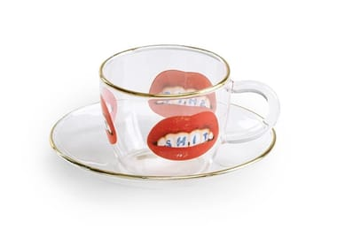 Taza de café de vidrio borosilicato con platillo SHIT   Taza