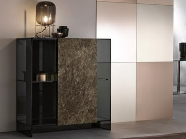 Dark Emperador marble and glass Highboard SHOJI | Highboard with sliding doors