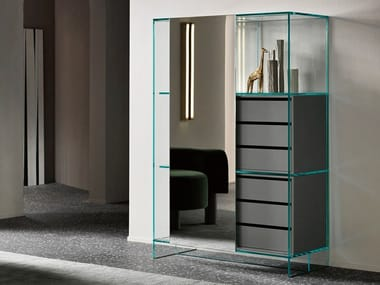 Mirrored glass highboard with sliding doors with drawers SHOJI | Highboard with drawers
