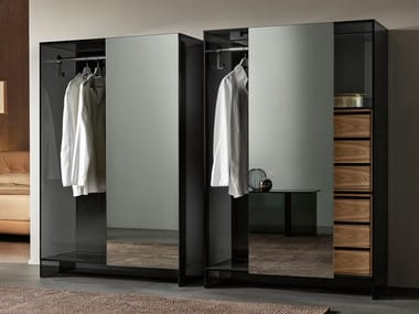 Mirrored glass wardrobe with sliding doors SHOJI | Mirrored wardrobe