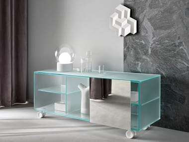 Satin glass sideboard with sliding doors SHOJI | Satin glass sideboard