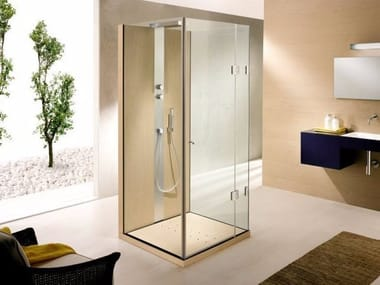 Rectangular crystal shower cabin with hinged door Shower cabin with hinged door