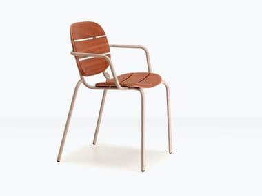 Steel and wood garden chair with armrests SI-SI WOOD