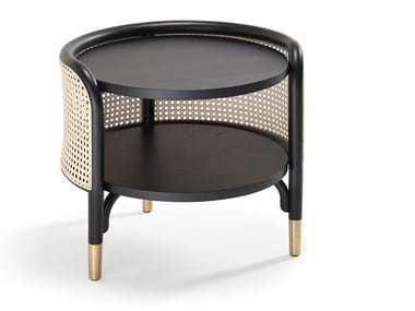 Round beech side table and woven cane inserts MOS | Side table