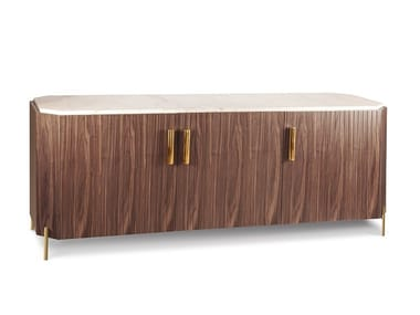 Wood veneer and marble sideboard with doors MALCOLM | Sideboard