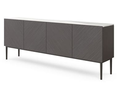 Wood veneer sideboard with doors PATCHWORK | Sideboard