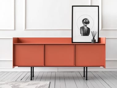 Lacquered sideboard with doors LANDING | Sideboard