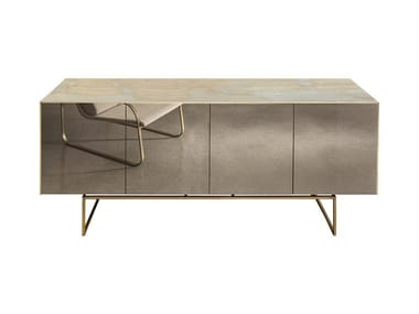 Sideboard with doors with mirrored door MAGDA | Sideboard with mirrored door