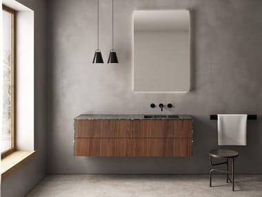 Mobile lavabo singolo sospeso in noce con lavabo integrato SIGNATURE 02
