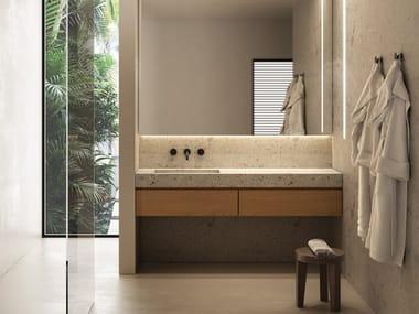 Mobile lavabo singolo sospeso in rovere con specchio SIGNATURE 03