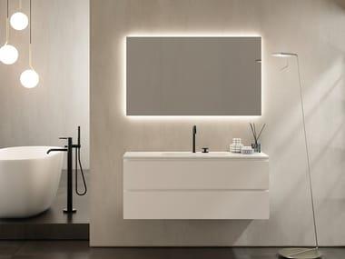 Mobile lavabo singolo sospeso con specchio SIGNATURE 07
