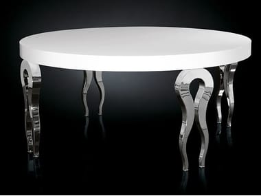 Lacquered round steel living room table SILHOUETTE | Round table