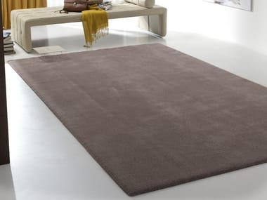 Solid-color rectangular fabric rug SILK COUTURE