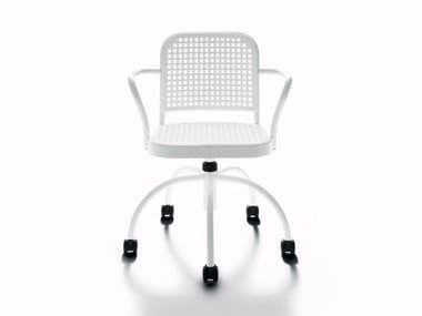 Swivel polypropylene chair with castors SILVER