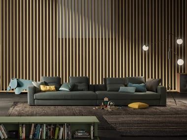 6 seater sectional leather sofa SIMON SLIM | Sectional sofa