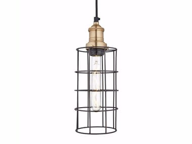Iron pendant lamp BROOKLYN RUSTY CAGE - CYLINDER